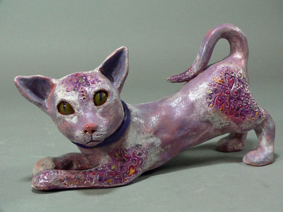 Kookoo, The Kitty with a Purple Tattoo - Playful Ceramic Cat Sculpture