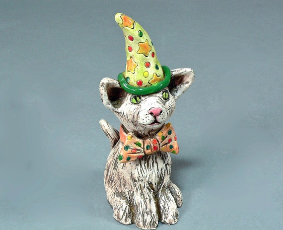 Whimsical Ceramic Cat Sculpture - CALVIN, a Party Animal Kitty