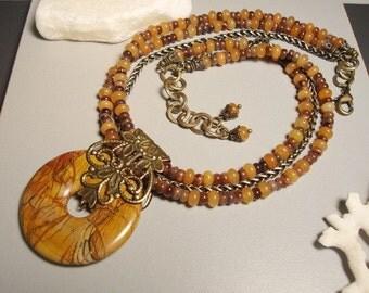 Picasso Jasper donut Pendant Necklace