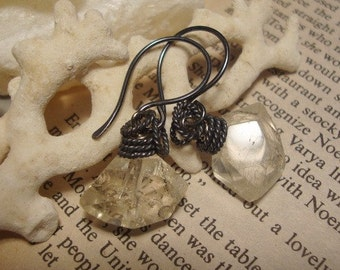Citrine Nuggets with Oxidized sterling silver Earrings