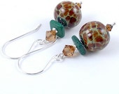 Redwood Brown Glass Lampwork Bead Earrings