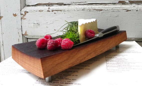 cutting board footed French oak, fruit cheese plate, reclaimed wine barrel. wood platter serving