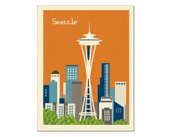 Seattle Skyline Notecard Card, Space Needle Skyline, Emerald City, Blank Seattle A2 card, orange Seattle,  Washington State, - style O-S1
