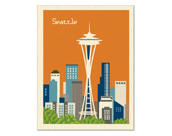 Seattle Skyline Drawing Seattle Skyline Notecard Card