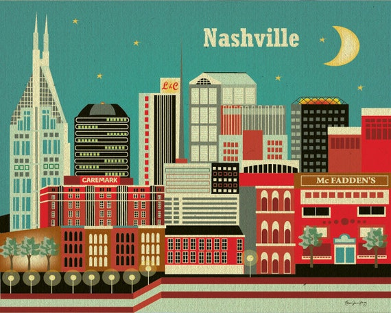 Nashville, Tennesse Skyline -  8 x 10 City Wall Art Poster Print for Home, Nursery, and  Office Top Seller - Style E8-O-NA