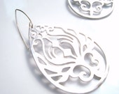 Teardrop filigree earrings - white gold plated peacock feather scroll design on .925 sterling silver hooks