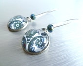 Long blue earrings -  casual white / denim floral damask swirl glass round bubbled dome charm dangle on antique silver simple kidney wire