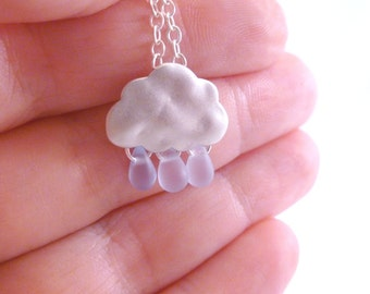 Raindrop Cloud Necklace in silver / glass - matte white gold storm cloud and pale blue glass tear drop beads on delicate silver plated chain