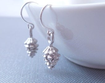 Silver Pinecone Earrings - small matte silver plated mini pine cone charms on tiny silver plated hooks - minimalist and simple