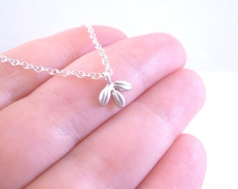 Small silver leaf necklace - tiny matte silver leaflet charm with delicate silver chain - minimalist leaf pendant