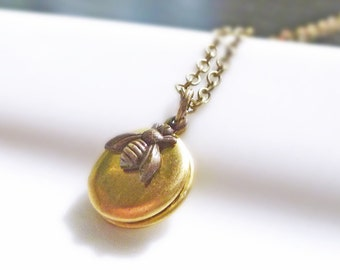 Bumblebee locket necklace - tiny miniature pendant in aged brass on delicate bronze chain - The Bee Keeper's Secret