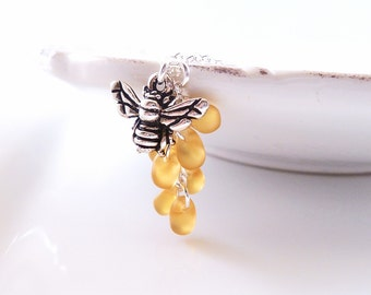 Honey Bee Necklace - small antique silver bumblebee charm with cluster of glass honey drips on delicate silver chain