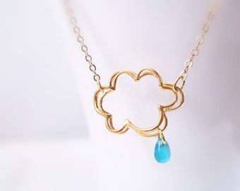 Raindrop cloud necklace in gold - Chance of Rain Showers - sweet little electric blue drop with simple gold plated chain