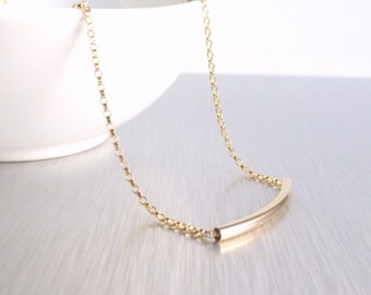 14K Gold Tube Necklace - 14 karat gold filled curved bar / tube and delicate gold filled rolo chain for modern layering or minimalist wear