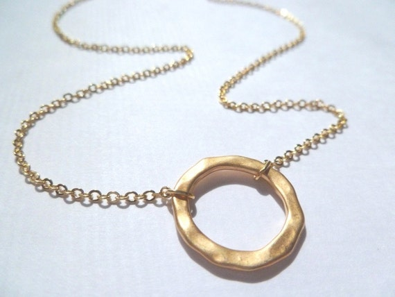Forever circle necklace - Forever and a Day simple circle in polished gold or silver