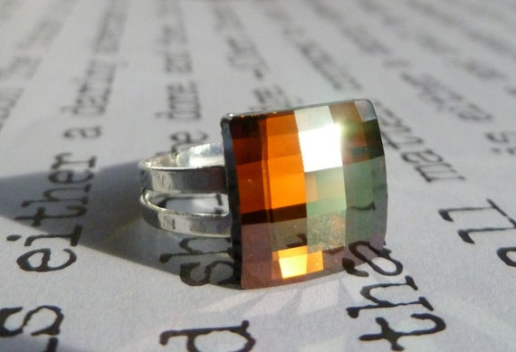 Copper Mine crystal cocktail ring
