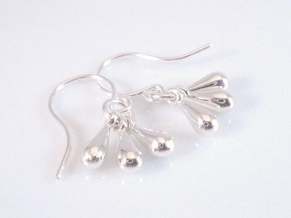 Silver Drop Earrings - tiny tear drop trio of minimalist charms dangle on small silver plated hooks