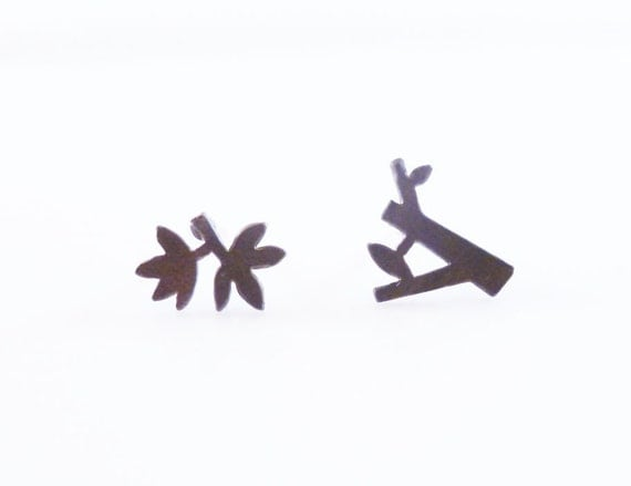 Little twig earrings - small mismatched miniature stud leaves and tree branch - black oxidized silver w/ .925 sterling silver posts