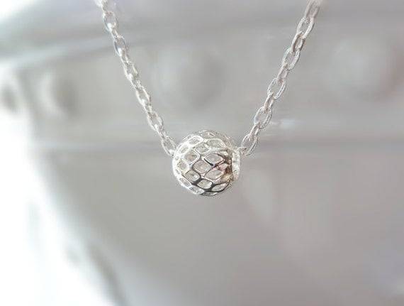 Silver ball necklace - minimalist hollow lattice cage bead on flat oval link simple silver chain - mesh style slider