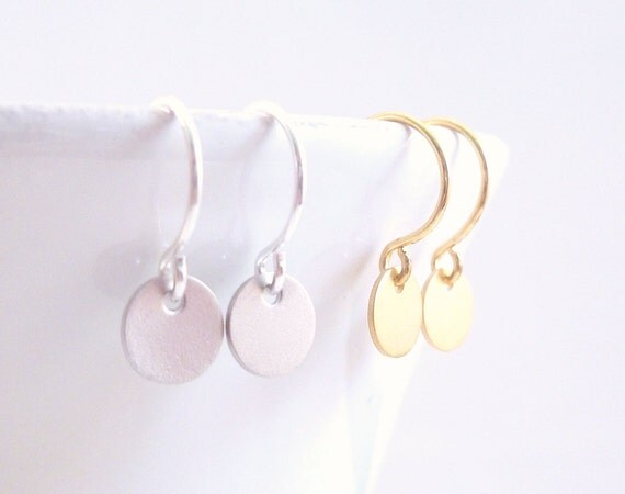 Tiny Disk Earrings - extra small mini round dangles on delicate little French hooks - CHOOSE GOLD or SILVER