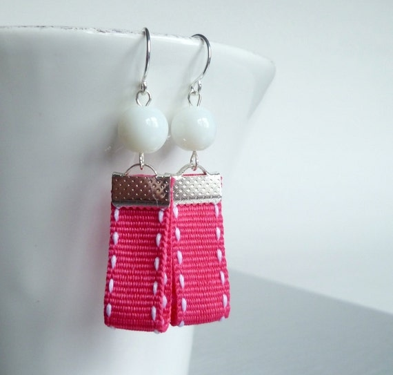 Hot Pink Ribbon Earrings - whimsical edge stitched fuchsia grosgrain ribbons with white glass beads and small silver plated ear hooks
