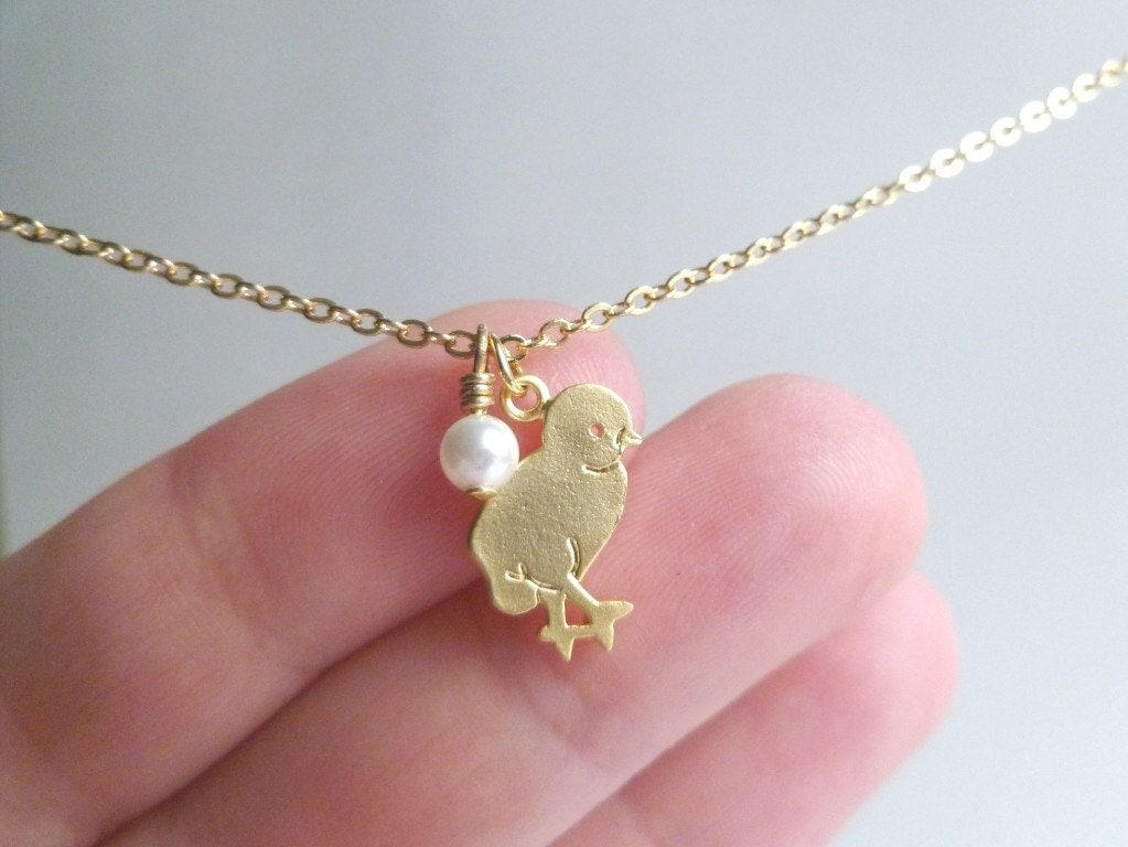 baby necklace shiny gold plated small pendant charm