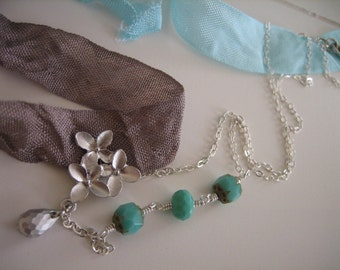 Cherry Blossom - FREE SHIPPING Asymmetrical chic turquoise cherry blossom silver necklace