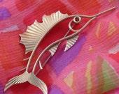 KREMENTZ Swordfish Brooch, Vintage Figural Fish Pin
