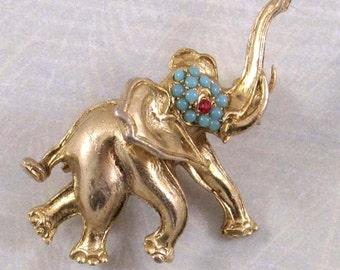 Elephant Brooch, red rhinestone, turquoise, Vintage Animal Figural Pin
