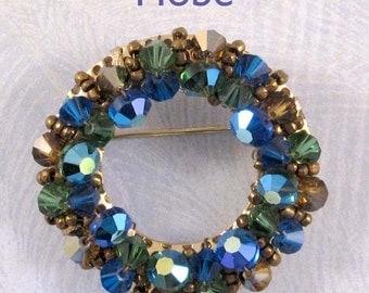 Vintage Hobe Brooch, Circular Blue Green Beaded Pin
