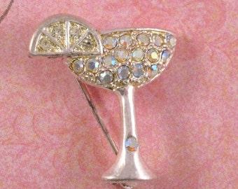 Vintage Rhinestone Brooch, Margarita Glass  Figural Pin