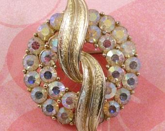 Vintage Coro Brooch, AB Gold Rhinestone Circular Pin