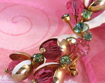 Vintage Signed Austria Brooch, Floral Pink Rhinestone Pin