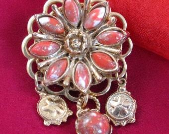 Orange Rhinestone Brooch with Dangles, Vintage Jewelry Pin