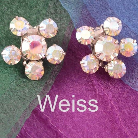 WEISS Vintage Costume AB Rhinestone Earrings, Sparkly and Dainty