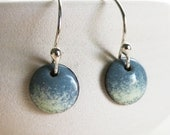 Earrings Enamel - Slate Blue Cream Speckled Copper Enamel Jewelry Earrings