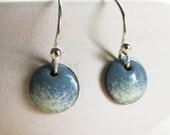 Ohrringe Schmelz - Schiefer-Blau Creme gesprenkelt Kupfer Emaille Schmuck Ohrringe