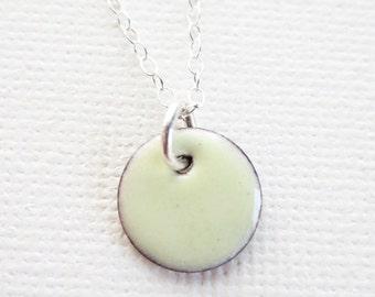 Enamel Pendant Necklace - Light Spring Yellow Mini Circle Pendant Enamel Sterling Silver Jewelry