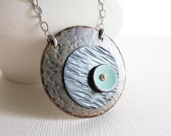 Copper Jewelry Necklace, Enamel Pendant, Artisan, Modern, Copper Circle, Sterling Silver Jewelry