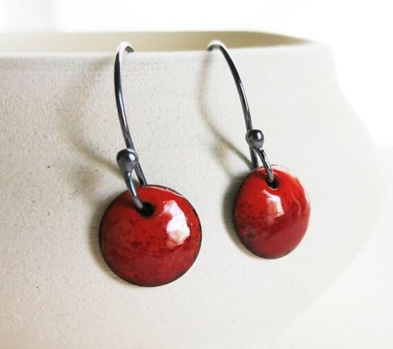 Earrings Enamel - Rocker Flame Red Orange Enamel Circle Earrings Oxidized Sterling Silver Jewelry