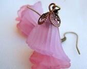 Pink Lucite Iris Earrings