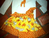 Jungle Animals Twirl Skirt with Giraffe Blouse and Matching Hair Flower (Size 2)