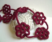 Dark Red Flower Necklace - Red Lace Flower Necklace - Mother's day gift - Red Choker Necklace - Burgundi red lace necklace
