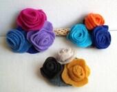 Multicolor Felted Flower Hairpin - Felt rose Girl Hairpin - Dark Blue Sky Blue Orange - Brown Cream Mustard Yellow - Pink Lavender Blue