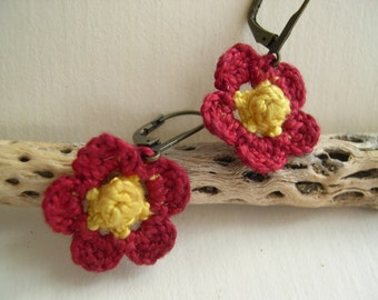 Primrose Earrings - Lace earrings - Flower earrings - Lace earrings - Crochet earrings - Girlfriend gift - Made in America - Cute earrings