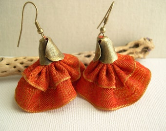 Orange Tango earrings - Orange bell earrings - Spanish dancer Earrings - Bridesmaid Earrings - Wedding Earrings - Flamenco Earrings