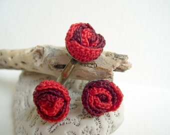 Red rose crochet earrings and ring set - Lace rose earrings - Cute rose earrings - girlfriend gift - Mother's day gift