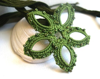Olive Green Flower Necklace -  Crochet Necklace - Lace Pendant - Bridesmaid Necklace - Boho Shabby Chic - Girlfriend Gifts - Made in America