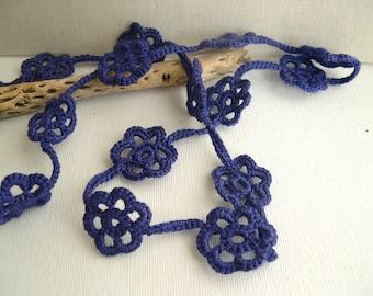 Deep Blue Medium Long Floral Necklace - Bridesmaid Dark Blue Flower Necklace  - Lace Fashion trends - Romantic lace gift