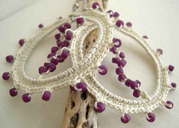 Ivory Cream Lace Earrings - Beige Earrings - Lacy trends - Fashion Hoop earrings - Handmade Crochet  Earrings - Big Hoops Earrings